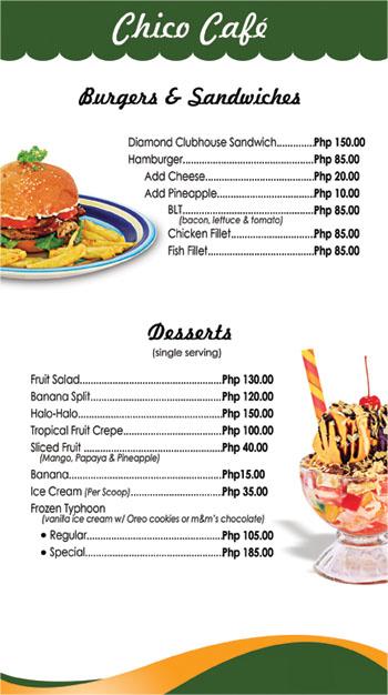 Restaurants Menu Bohol Hotel Dao Diamond Hotel